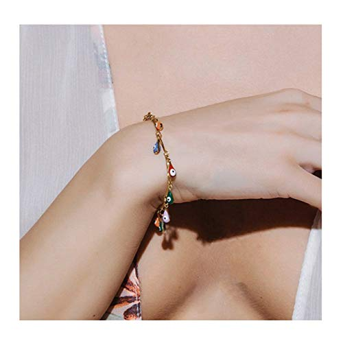 Mevecco Gold Tiny Evil Eye Bracelet,14K Gold Plated Dainty Handmade Teardrop Colorful Cute Boho Dangle Charm Link Chain Minimalist Protection Tassel Bracelet for Women