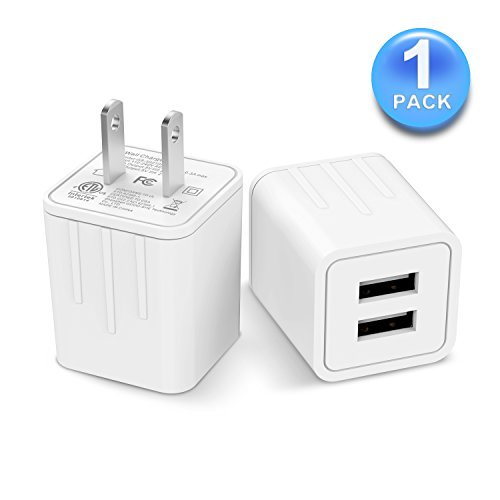 USB Wall Charger, Charger Adapter,ALIWIKI Dual Port 2.1A Output Portable USB Travel Wall Charger Phone Charger Adapter for iPhone X/8/7/Plus, iPad Pro, Samsung, HTC, Huawei,Moto and ()