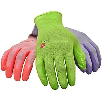 G U0026 F 15226M Womenu0027s Garden Gloves, Nitrile Coated Work Gloves, Assorted  Colors. Womenu0027s Medium, 6 Pair Pack