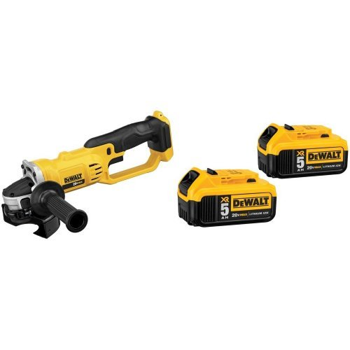 Dewalt DCG412B 20V MAX Lithium Ion 4-1/2 inch grinder (Tool Only) with 20V MAX XR 5.0Ah Lithium Ion Battery, 2-Pack