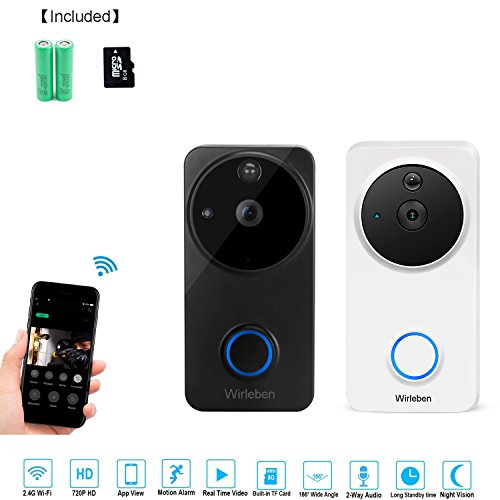 Smart Wi-Fi Video Door Bell 720P HD Camera Intercom Doorbell with 8G Memory Storage Real-Time Two-Way Talk Night Vision PIR Motion Detection App Compatible with IOS and Android