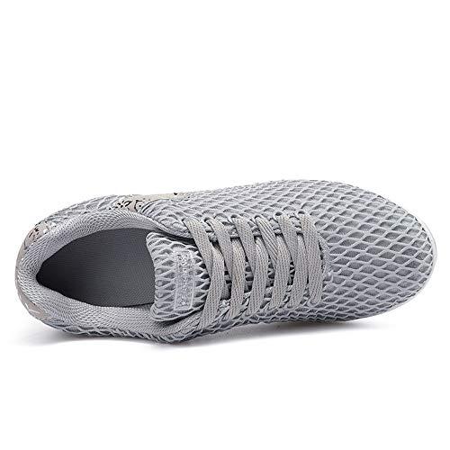 Sneakers Entrenamiento Sin de de Mujer Tacón Cinnamou Transpirables de Deporte Gris Sport Cordones Running Zapatos Gimnasia Zapatillas HxRq8P71