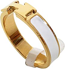 838a680c6ceec Qindishijia Love Ring - Titanium Fashion Classic Color Blocking H Ring  (size  5-10) (Gold White