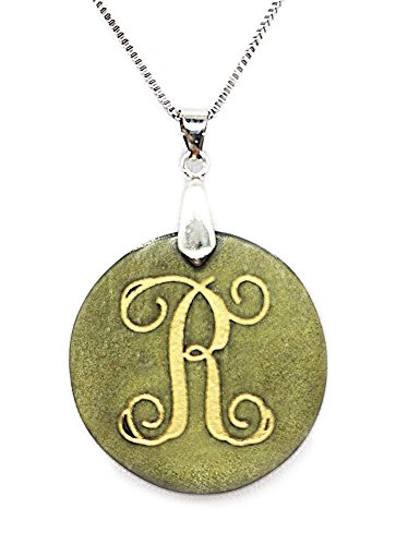 """Beautiful Pendant Jade Purple (Bella Jade Alphabet Pendant with Initial """"R"""" Made of Gold Sheen Obsidian, with 18"""