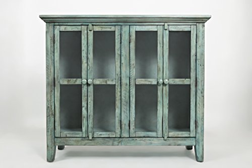 Jofran: 1615-48, Rustic Shores, Accent Cabinet, 48″W X 15″D X 42″H, Vintage Blue Finish, (Set of 1)