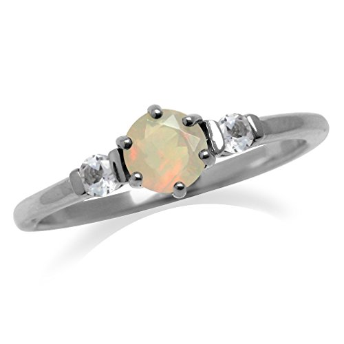 Petite Genuine Opal & White Topaz Gold Plated 925 Sterling Silver Promise Ring Size 9 ()
