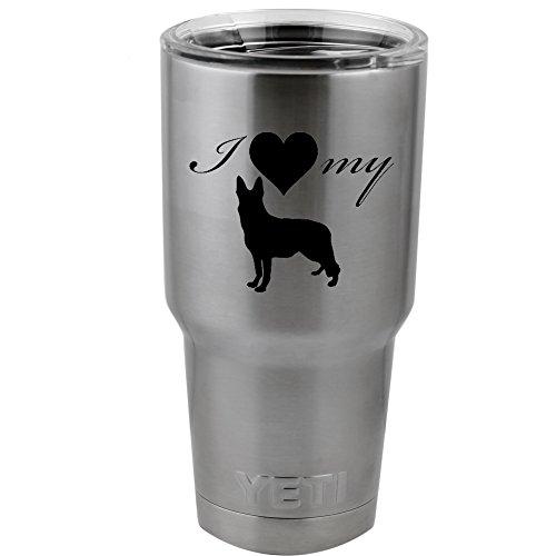 I Love My German Shepherd Dog Silhouette Heart Vinyl Sticker Decal for Yeti Mug Cup Thermos Pint Glass (4