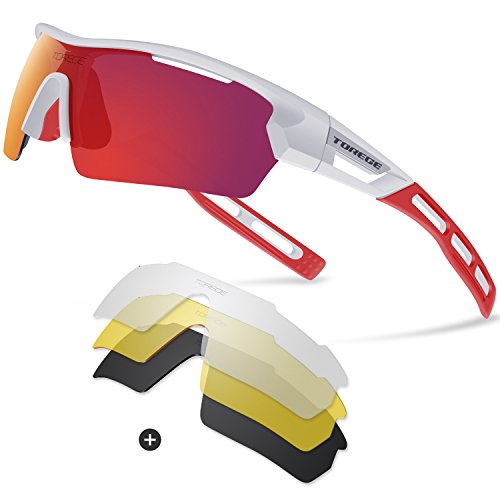 Torege Polarized Sports Sunglasses for Men Women Cycling Running Driving TR033(White&Red tips&Red lens) (Sports Sunglasses Women For)