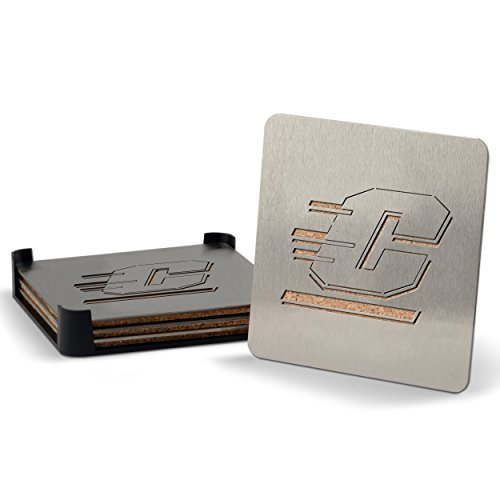 YouTheFan NCAA Central Michigan Chippewas 4-Piece Stainless Steel Boaster Drink Coaster by Sportula (Image #1)