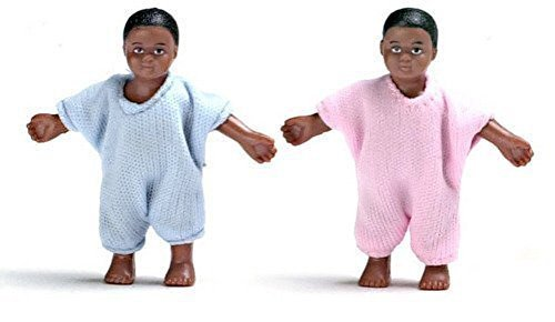 Dollhouse Miniature 1:12 Scale People Twin Black Babies Little Baby Boy and Girl by Aztec Imports, Inc.