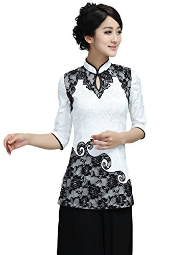 AvaCostume Chinese Lace Embroidery 3/4 Sleeve Cheongsam Blouse, S