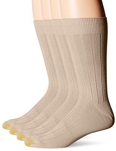 Gold Toe Men's Hampton Bonus Pack, Khaki/Tan/Black/Black, Sock Size:10-13/Shoe Size: 6-12 (Dress Socks Tan)