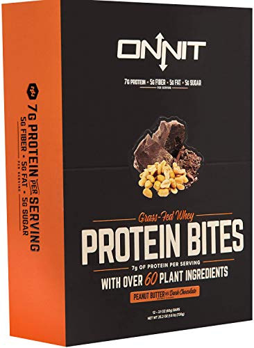 New! Onnit Protein Bites (Chocolate Peanut Butter – Box of 24) | Made with Grass Fed Whey & over 60 Plant Ingredients | 7g Protein Per Bar