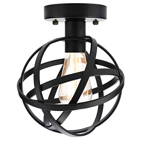 Vintage Industrial Ceiling Light Flush Mount, Metal Spherical Ceiling Lamp Hallway Light Fixture with Cage Chandelier for Stairway Porch Bedroom -
