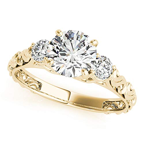 - 0.5 Ct. Halo Round Cut Classic Three-Stone Diamond Engagement Ring for Women |4 Prong 14K Solid White Rose Yellow Gold | 1/2 ctw Genuine Diamond Wedding Jewelry Collection (Yellow-Gold, 8)