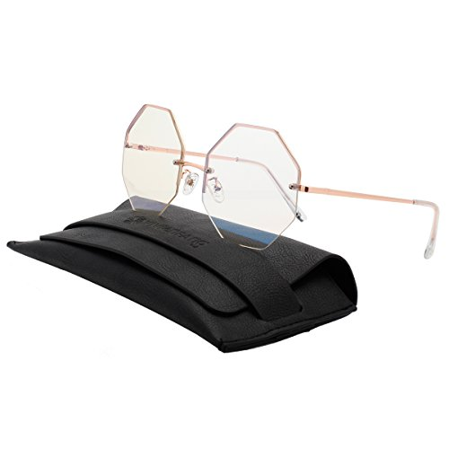VIVIENFANG Geometric Octagon Shape Sunnies Flat Lens Oversized Shades Rimless Clear lens Sunglasses 87157B - Sunglasses Korean