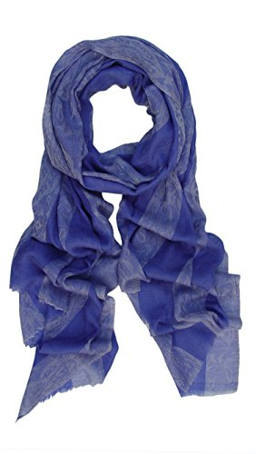Pure Cashmere Pashmina Scarf Wrap Stole Shawl in Paisley Stripes Design: Periwinkle, Purple, Blue
