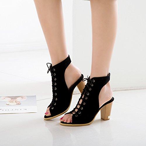 Color Verano de Piel Zapatos Mujer Club de Novedad Sandalias 42 de Hollow Aguja Ligera de otoño out tamaño de sintética Negro Zapatos de Mujer Suela Tacón de z6qwwg