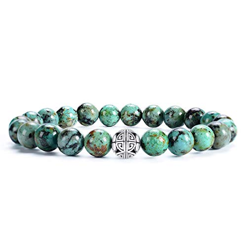 Gemstones Healing Crystal Stretch Beads Bracelet Bangle 925 Silver Double Happiness Pendant (African Turquoise AAA+) ()