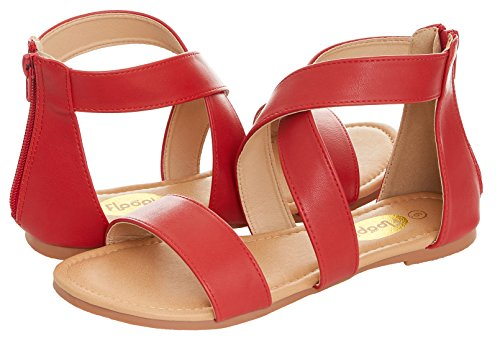 Zipper Gladiator Red W Back Floopi Cross Summer Flat Strap Ankle Sandal Criss Womens zWqnIWcPR