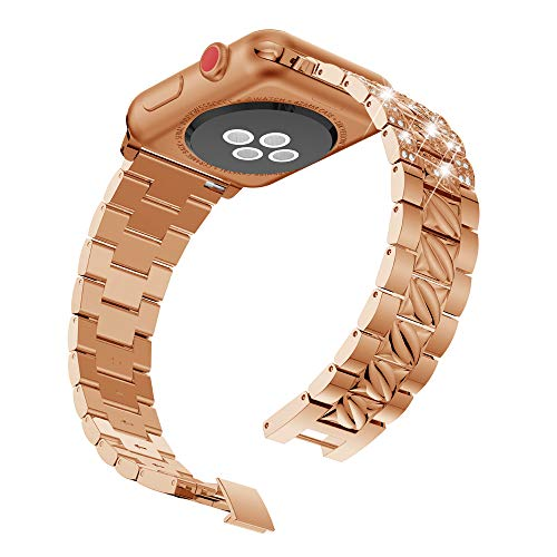 (44MM Apple Watch Band 4th Generation, Urberry Bling Alloy Replacement Band for Apple Watch Series 4 (Rose gold))