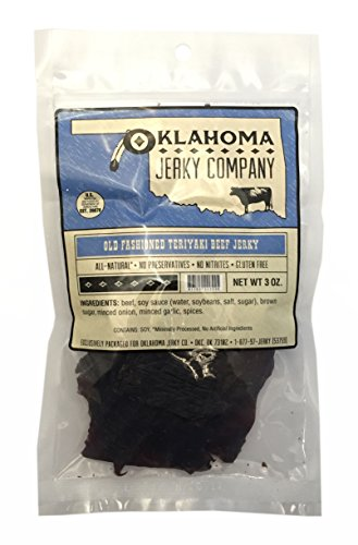 Old Fashioned Style Gluten Free Teriyaki Beef Jerky - No Frills Tough and Dry Style Beef Jerky - All Natural, No Added Preservatives and No Added MSG - 3 oz.