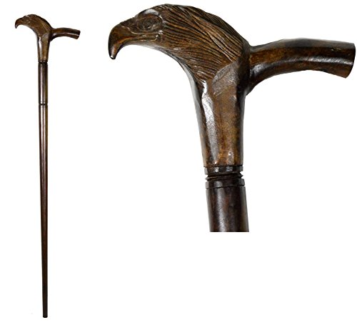 (Eagle Mahogany Hand Carved Wood Tribal Old Man Dude Walking Stick Cane Staff- WORLDBAZZAR Brand)