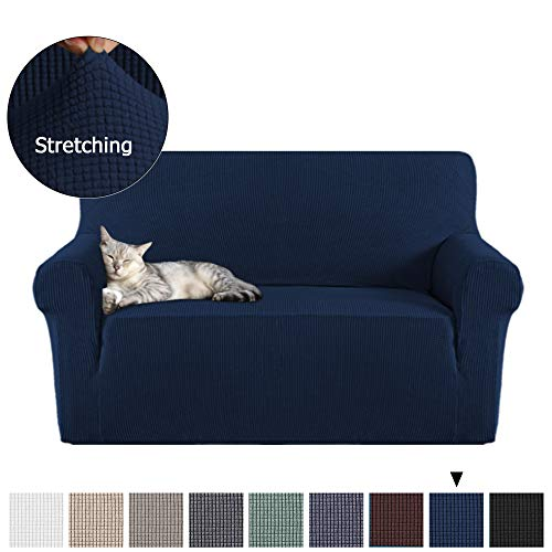 1-Piece Soft Spandex Loveseat Covers Furniture Protector Rich Textured Lycra High Spandex Small Checks Knitted Jacquard Sofa Cover for Living Room (Loveseat 2 Seater, Navy)