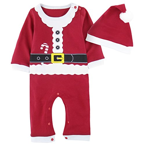 Family Costumes With Newborn (A&J Design Newborn Christmas Santa Claus Costume Outfit Jumpsuit With Hat (0-6 Months, Santa Claus))