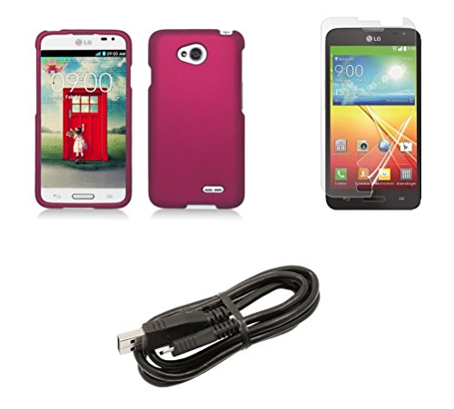 Shield Case Magenta Protector (LG Pulse (Virgin Mobile) - Magenta Pink Protective Hard Cover Snap-On Shield Case + ATOM LED Keychain Flashlight + Screen Protector + Micro USB Cable)