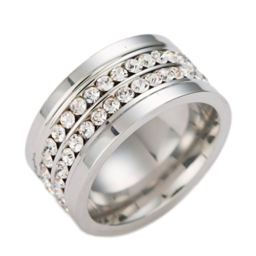 2 Rows CZ Crystal Pave Stainless Steel Wedding Rings for Women,White,10mm Width(9) ()