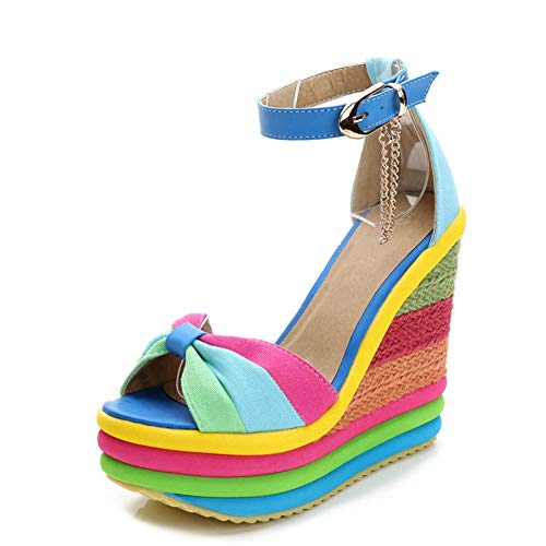 High Heel Colored - SaraIris Sandals for Women Gladiator Ankle Strap High Heel Platform Shoes Wedge Rainbow Sandals for Women