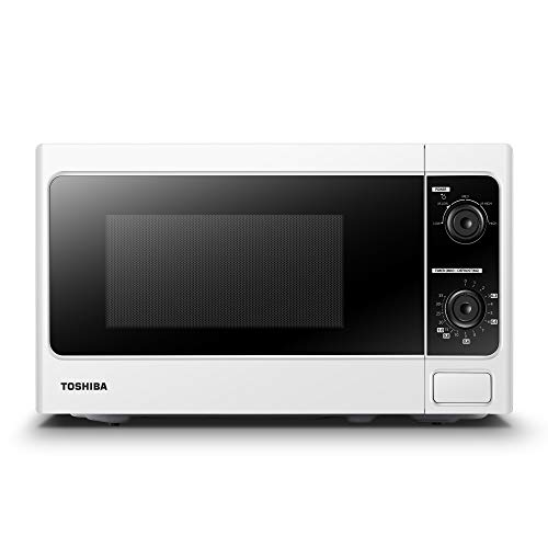 Toshiba Microwave Oven 20 Litre, 800 Watt, MM-MM20P(WH) Upgraded Microwave with Function Defrost, 5 Power Setting, 0-35min Timer, Stylish Design, Easy to Clean - White