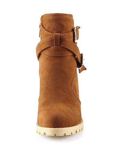 Negro Cn34 Vestido Casual Zapatos Botas Xzz Tacón Eu35 Moda Uk3 De Yellow us5 La Uk6 Redonda A Punta Robusto us8 Black Amarillo Vellón Beige Mujer Eu39 Cn39 6CFx7dPwqF
