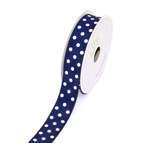 Blue Polka Dot Grosgrain Ribbon - LUV RIBBONS 7/8-Inch Grosgrain White Polkadots Ribbon by Creative Ideas, 10-Yard Navy Blue