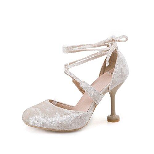 Womens Stilettos Urethane Spikes ASL04225 Toe Beige Round Bandage Pumps Shoes BalaMasa 7AHd4qwnw
