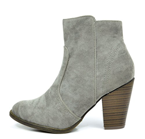 Dröm Paren Womens Elegant Cowboy Chunky Blocket Hälen Blixtlås Fotled Tossor Kendall-grå
