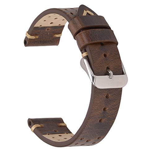 22mm Leather Watch Band, EACHE Rally Racing Perforated Watch Strap Retro Brown Color ()