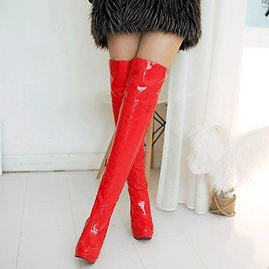Heart&M Damen Schuhe Kunstleder PU Herbst Winter Komfort Neuheit Modische Stiefel Stiefel Stöckelabsatz Runde Zehe Übers Knie Schnürsenkel Für red