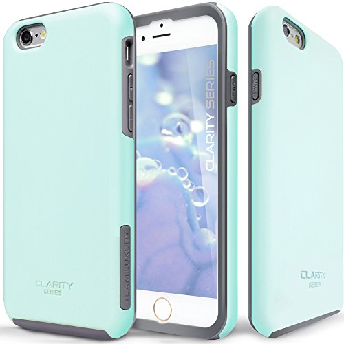 (iPhone 6s Case, TEAM LUXURY [Clarity Series] Turquoise Ultra Defender TPU + PC Shock Absorbent Slim-fit Premium Protective Case - for Apple iPhone 6 / iPhone 6S (Soft Mint/Gray))