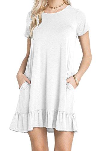Chvity Col Rond Manches Courtes D'été Des Femmes Drapées Ruffle Hemline Casual T-shirt Mini Robe Robe Blanche