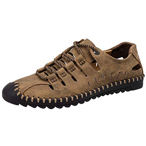 WENSY Men's Summer Casual Solid Color Lace Leather Sandals Breathable Non-Slip Tide Outdoor Beach Shoes Hole Shoes(Khaki,45)