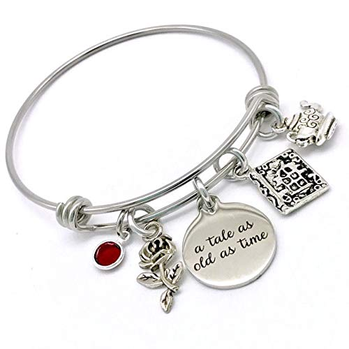 Beauty and the Beast Inspired, A Tale as Old as Time Belle Rose Bangle Bracelet