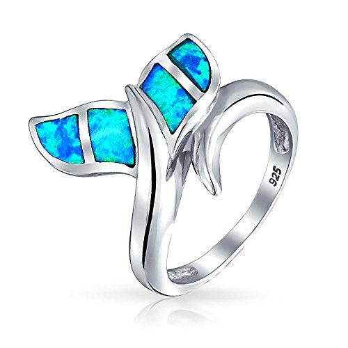 Synthetic Blue Opal Inlay Whale Tail Nautical Animal Ring 925 (Synthetic Blue Opal Inlay)