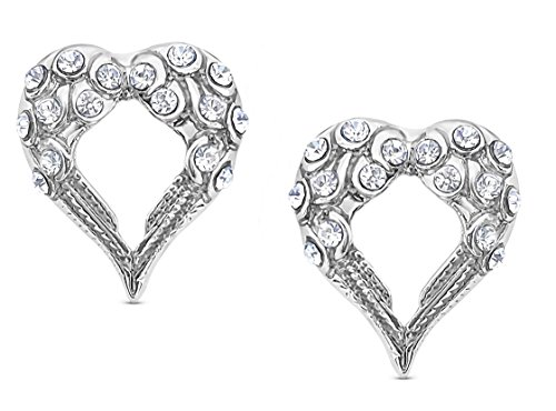 Small Crystal Heart Shaped Guardian Angel Wings Silver Tone Stud Earrings]()