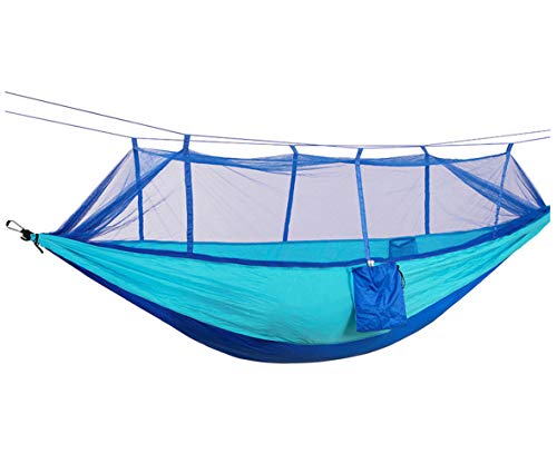 Ecover Camping Hammock Mosquito Net Portable High Strength Parachute Hammock Zippered Bug Net Outdoor Camping Travel, Blue, 90.5'' x 51.2'' by Ecover