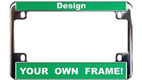 MOTORCYCLE Custom Personalized Chrome Metal License Plate Frame - Green / White ()