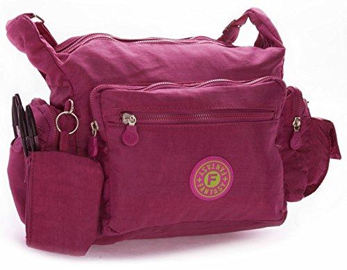 Big Handbag Shop Womens Lightweight Rainproof Fabric Messenger Cross Body Shoulder Bag - Medium Size Magenta Pink