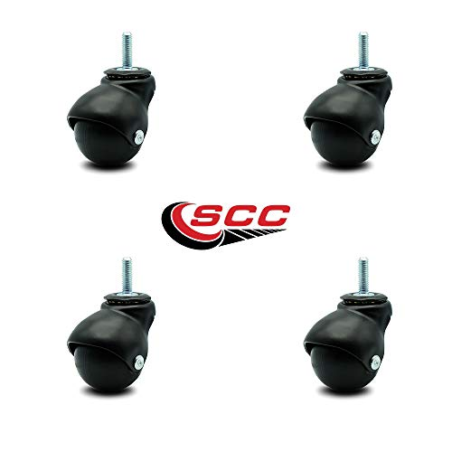 Service Caster Flat Black Hooded 2 Inch Swivel Ball Casters with 5/16 Threaded Stems - 300 lbs. Total Capacity - Set of 4