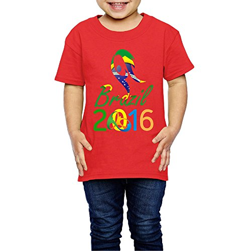 Price comparison product image Kim Lennon 2016 Brazil Torch Relay Short Sleeve Kids Tee New Style Size 5-6 Toddler Red